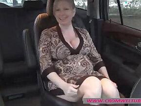 Pregnant masturbating in car